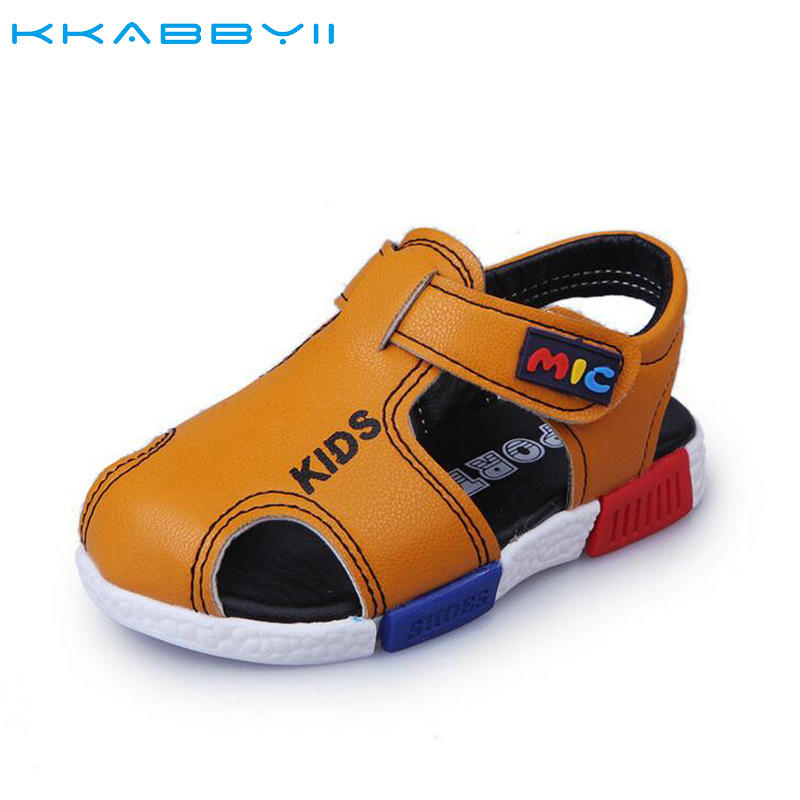 KKABBYII Boys Sandals New Arrival Summer Leather Fashion Girls Sandals Shoes Child Beach Causal Shoes