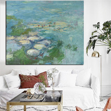 Print Wall Art Canvas Claude Monet Water Lily Pond Oil Painting Lotus Oil Painting Impressionist Poster Picture for Living Room(China)