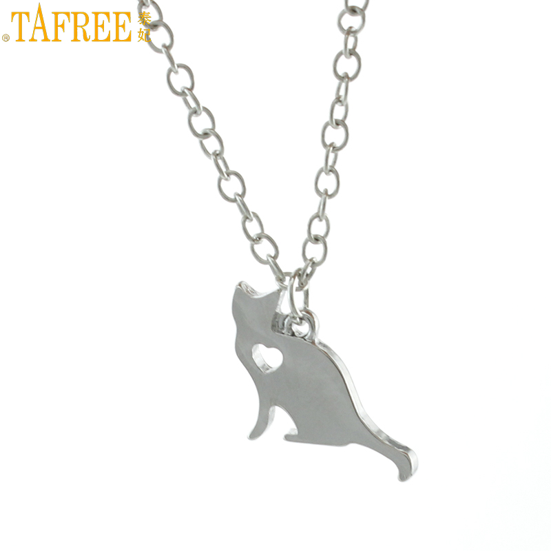 TAFREE high quality Lovely Little Cat choker necklace women fashion stainless steel animal cat pendant statement jewelry SKU16(China (Mainland))