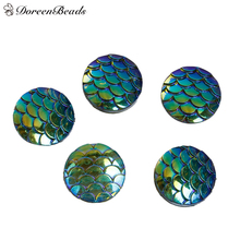 "DoreenBeads Resin Mermaid Fish /Dragon Scale Dome Seals Cabochon Round Green AB Color 12mm( 4/8"") Dia, 100 PCs(China)"