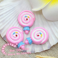 resin flat back cabochon candy lollipop dessert for ornament 50pcs 15*21mm(China)