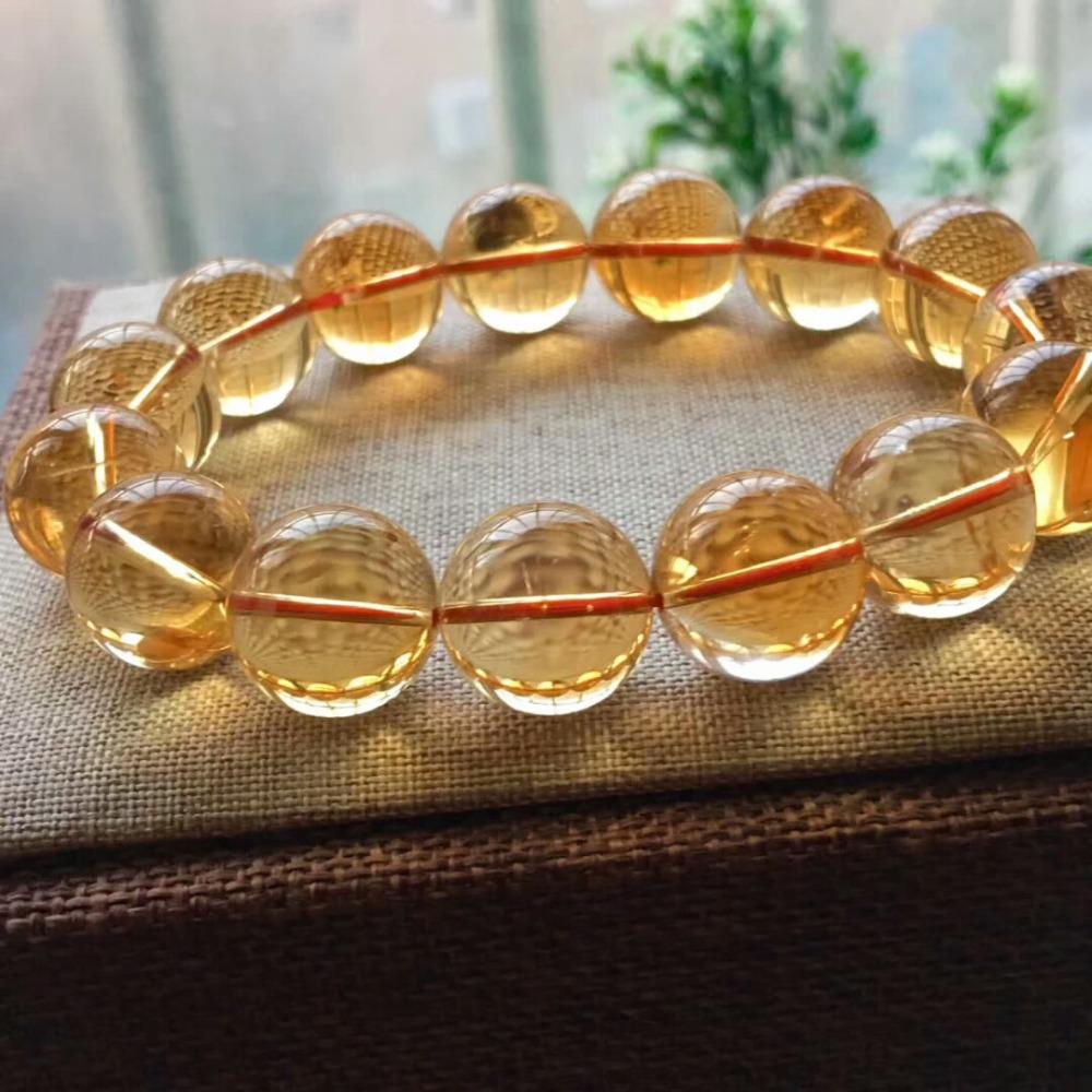 17mm Natural Citrine Quartz Crystal Yellow Bracelet Round Beads Wealthy Gemstone Stone Stretch Woman ManAAAAAA (5)