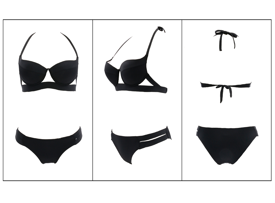 Hot Sale Strappy Bikini 17 Bandage Bikini Sets Push Up Bra Swimsuit Bathing Suit Brazilian Biquini Hollow Out Maillot De Bain 13