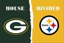 Green Bay Packers VS Pittsburgh Steelers House Divided flags 3ftx5ft Banner 100D Polyester Flag metal Grommets(China)