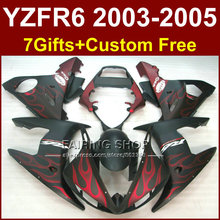 Red flames in black body repair parts for YAMAHA R6 fairing kit 03 04 05 YZF R6 2003 2004 2005 Motorcycle fairings sets OH64