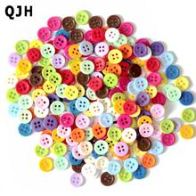 200pcs/lot 11mm Wholesale Mixed Color Round Shape 4 Hole Resin Button Fit Sewing Scrapbooking Apparel Sewing Accessories