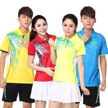 Adsmoney high quality Men Tennis Shirt Suit Turn-down collar Sports Badminton clothes Shorts Table Tennis shirt shorts kit skirt(China)