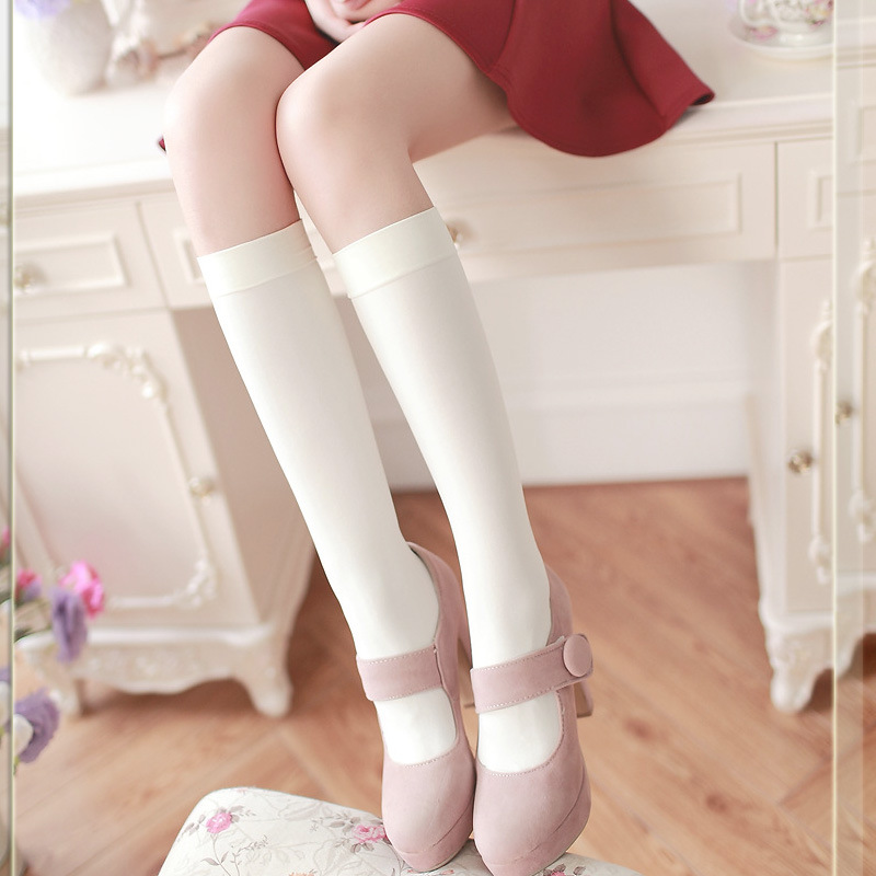 Jeseca Japanese Kawaii Women's Stockings High Quality Lower Knee Thigh High Stocking Black White Cute School Students Long Sox