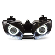 KT Headlight for Yamaha YZF R6 1999-2002 LED Dual Angel Eye Motorcycle HID Projector Assembly 2000 2001