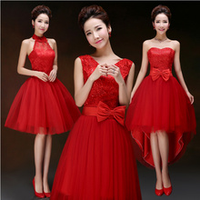 cheap junior red short vintage tulle bridesmaid dress formal bridesmaids junior party dresses under 50 for weddings B2678