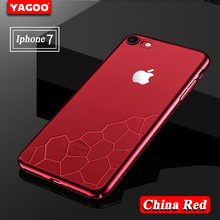 YAGOO original case For Apple iphone 7 case silicone cover Luxury 360 red transparent hard TPU for iphone 7 plus case 4.7 & 5.5