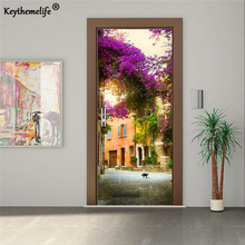 2pcs/set 3D Door Sticker DIY Mural Poster PVC Small Town in France Waterproof Imitation Wall Sticker Decal Bedroom Home Decor E1