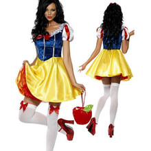 2017 New For Purim Adult Snow White Costume Carnival Halloween Costumes For Women Fairy Tale Cosplay Female Fancy Dress(China)