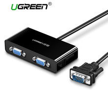 Ugreen 2 порта vga-коммутатор Splitter 1920*1440 VGA Male to Two Female Splitter кабель для ноутбука проектор HDTV VGA Splitter(China)
