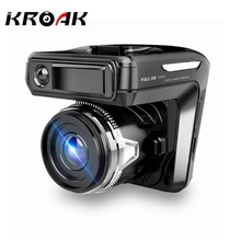 KROAK 2.4'' 2 In 1 Car DVR Camera Anti Radar Detector Laser HD 720P Built-in GPS Logger Alarm System Digital Video Recorder