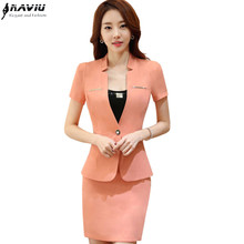 Summer career women skirt suit fashion business short sleeve slim blazer and skirt set ladies plus size work wear office uniform