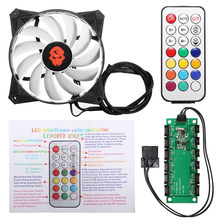 High Quality 120mm CPU Fan RGB Adjustable LED Cooling Fan Cooler 12V Computer Case Radiator Heatsink Controller Remote For PC(China)