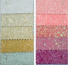 Chunky Glitter Leather Fluo Colors high quality PU Glitter Fabric for DIY sewing P334