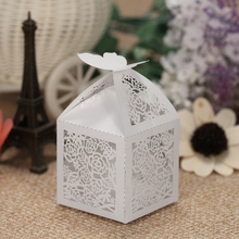 50pcs/set Mini Laser Cut Hollow Wedding Box Candy Boxes Favor White Pearl Paper Gift Box for Party Banquet gift party decoration(China)