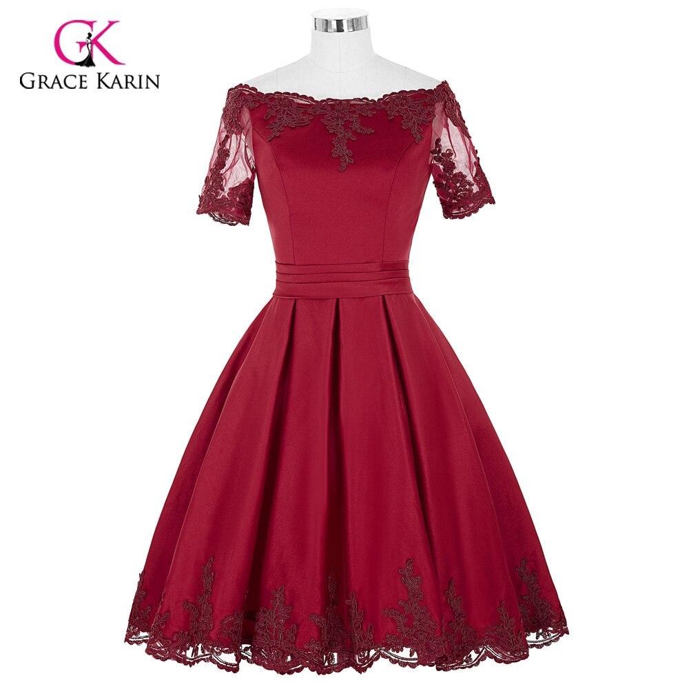 Short Cocktail Dresses 2018 Grace Karin Off The Shoulder robe de Cocktail Wedding Party Dress Satin Champagne Red Coctail Dress