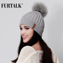Furtalk Real Fox Fur Hat Big Raccoon Pom Pom Hat for Women Knitted Beanie Caps Autumn Women Winter Hats for Girls(China)