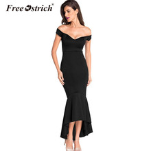Free Ostrich 2017 Autumn Women Sexy Dress Trumpet Off The Shoulder Ankle-Length Solid V-Neck Empire Waistline Ladies Dress(China)