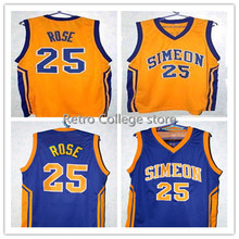 DERRICK ROSE #25 SIMEON HIGH SCHOOL BASKETBALL JERSEY BLUE,Yellow,stitched Men's XXS-6XL Jerseys Customize any size number