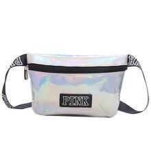 fanny pack Laser pu belt bag pink Banana Bags letter waist bag holographic female belt fashion heuptas Handbags purse pouch belt(China)