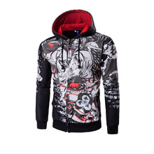 new style fashion 3d Animal printing men hooded zipper hoodies sweatshirts coat outwear M-3XL AYG175