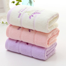 Twistless lavender pattern soft skin care thick cotton towel factory direct sale 105 g