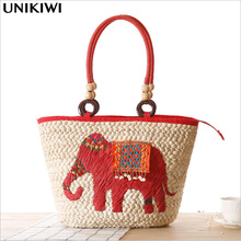 3 Colors.Ethnic Bohemian Women's Embroidery Elephant Straw Handbag.Holiday Woven Straw Hand Bag.Boho Tote  Beach Shoulder Bags