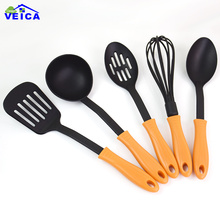 FDA Approved 5pcs/lot Nylon Cooking Tools Silicone Kitchen Utensils Set in Hygienic Solid Coating