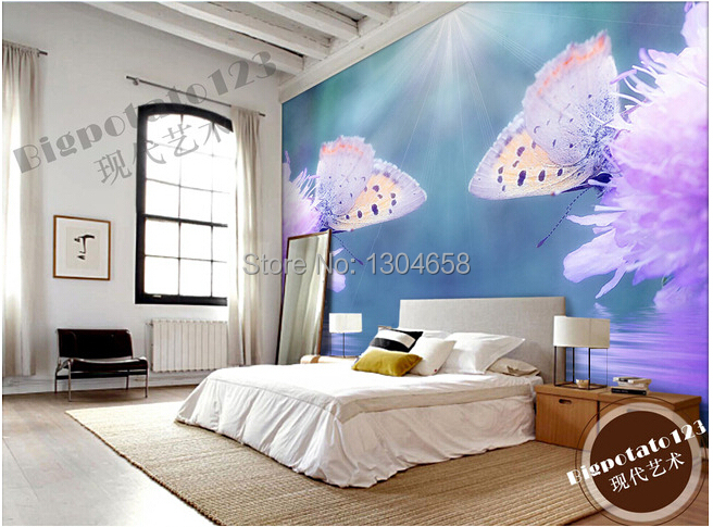 Custom photo wallpaper fantasy pink butterfly on the flowers for the living room TV setting wall vinyl wallpaper Papel de parede<br>