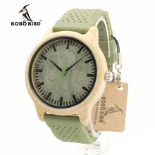 BOBO BIRD B06 New Fashion 2017 Bamboo Wood Watches with Soft Green Silicone Straps Japan Quartz Movement 2035 Watch in Boxes