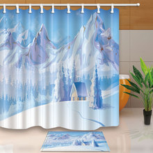 High Quality Shower Curtain Snow Frozen Bathroom Screens Home Decor Polyester Fabric Waterproof And Mildew Proof
