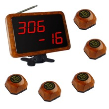 SINGCALL.Wireless cafe coffee shop service system. 5 pcs of wood color table bells and 1 pc receiver