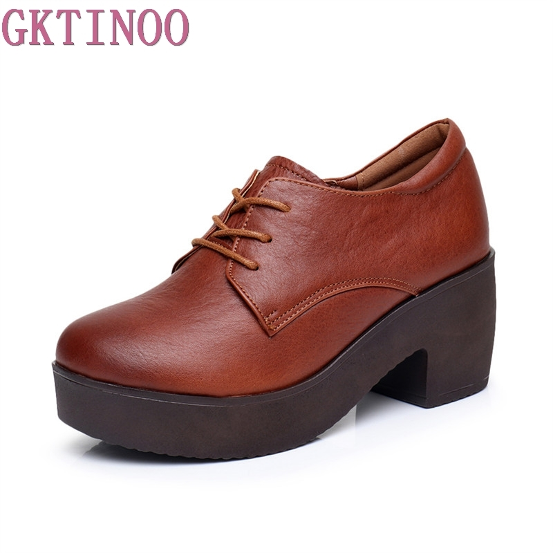 GKTINOO Spring Autumn Shoes Women Genuine Leather Breathable Pumps Thick High Heels Shoes Fashion Platform Women Pumps <br>