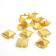 100pcs 12mm Gold Plated Pyramid Studs Rivet Spike Punk Bag Belt Bracelets Clothes Apparel Sewing Garment Rivet(China)