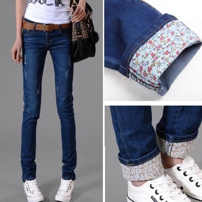 2017 New popular Elastic Waist Jeans Women High Waist Slim Was Thin Pencil Pants Casual Trousers Floral patterned pantsОдежда и ак�е��уары<br><br><br>Aliexpress