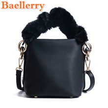 Baellerry Good Quality Graceful Casual Women Handbags Mini Tote Soft Furry Handle Female Shoulder Bags Fashion Small Bucket Bags