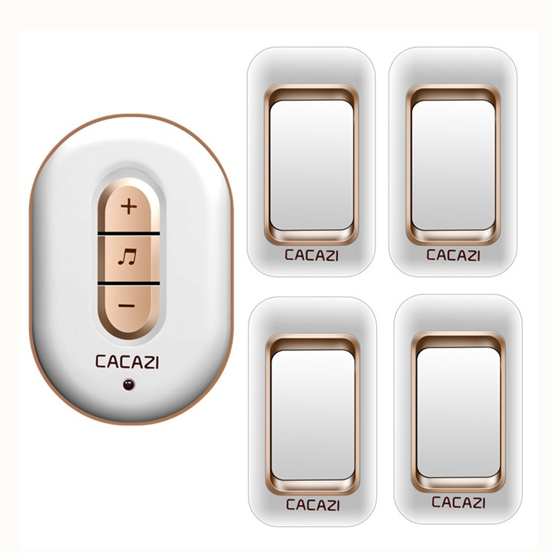CACAZI 4 transmitters+1 receiver, AC 110-220V waterproof 300M remote wireless doorbell,48 melodies 6 volume door chime<br>