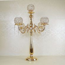 75cm Crystal Candle Holder Metal Gold Candlestick Lantern Candle Stand Candelabra Crystal Table Decoration For Wedding&Party