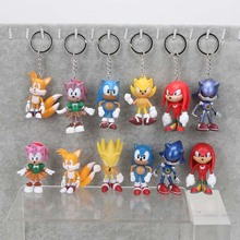 5sets sonic the hedgehog 3inches 7cm SEGA Figures toy pvc toy sonic Characters figure toy keyring pendant keychains