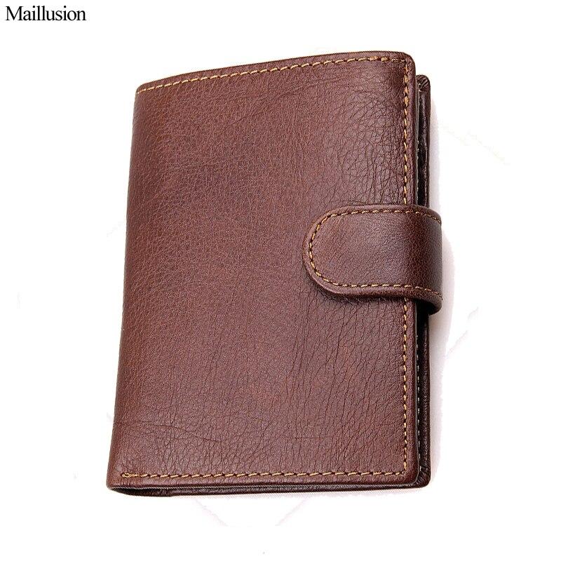 Maillusion Geniuen Leather Men Wallet Crazy Horse Cowhide Short Vintage Small Male Coin Purse Money Pocket Brand Designer Clutch<br>