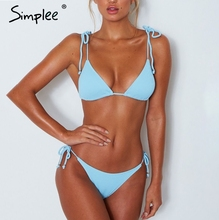 Buy Simplee Push padded summer beach wear lingerie set Adjustable strap tie sexy swimwear set lycar backless intimates women