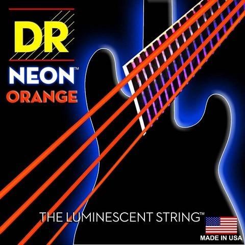 DR K3 Hi-def Neon Orange Luminescent Bass Guitar Strings, Light 40-100 or Medium 45-105 or 5-strings 45-125<br>