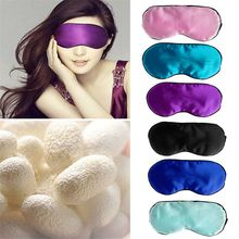 thirstyAA Pure Silk Sleep Rest Eye Mask Padded Shade Cover Travel Relax Aid Blindfolds 5 Colors