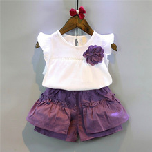 New summer 2017 children Girls fashion short sleeve flower chiffon T-shirt  + purple pleated shorts clothing set 3-8 years !