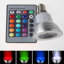 Dimmable E14 RGB Spotlight LED Bulb Light 16 Colors Change 85-265V 110V 220V Lampada 6W lamp with Wireless Remote Controller(China)