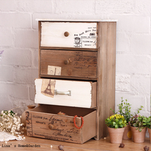 Europe Cottage Small Shabby Chic Solid Wood 4 Drawers Cabinet